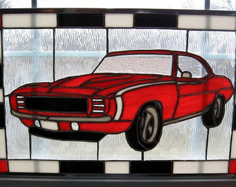 1969 Camaro Car Stained Glass Window Panel - Red Stained Glass Panel