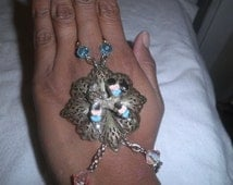 On Sale Slave Cuff Bracelet Poodle Dog with Silver Metal Chain OOAK Ring Hand Harness Fashion Jewelry