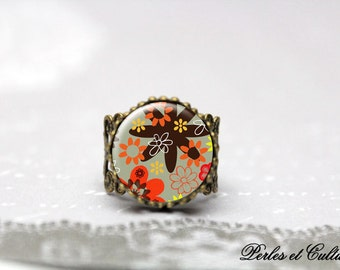 Ring cabochon glass-Dragonfly - orange brown flowers