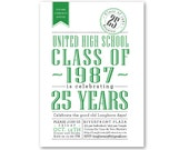 CLASS REUNION Invitations, High School Reunion, College Reunion, Green or Custom Color, Printable or Printed Invitations, Any Year