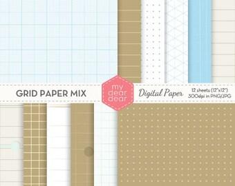 Grid Paper (Graph Paper) Mix Patterns (Dots, Squares, Isometric, Milimeter Block) Digital Paper Pack [Instant Download]
