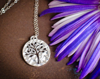 Silver Tree of Life Round Pierced Pendant Hammered Necklace - Nature inspired
