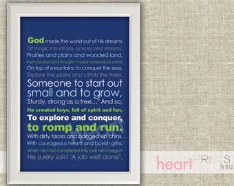 God made little boys (navy, green, gray) - children and nursery art - printed copy - 8.5x11
