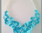 Turquoise Lace Bib Statement Necklace New Style - 16 inch