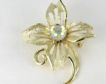 Gold tone Cut out Flower Pin with faceted AB glass center vintage gardening jewelry