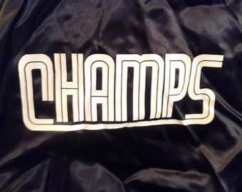 Vintage Shiny Black Satin Champs Jacket New