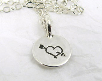 Fine Silver Valentines Heart Pendant with Sterling Silver Chain, Silver Heart Charm, Valentines Pendant, Heart Pendant, Monogram lecklace