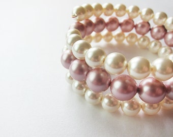 SALE ITEM Something New, Wedding Bracelet, White and Rose Pearls, Wedding Jewelry, Bridesmaids, Shabby Chic, Stackalbe, Vintage, Gift