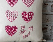 Decorative Pillow Cover - Cotton Pillow Cover - Screen Printed Pillow Cover - Pink Printed Sofa Cushion Cover - Valentines Pillow - 18x18