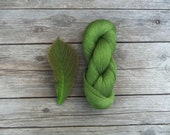Linen Thread skein in natural green color - thread for summer projects