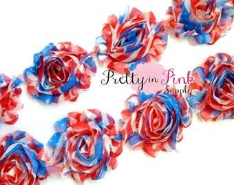 RED WHITE BLUE Flag Shabby Rose Trim- Shabby Flowers- 1/2 Yard or 1 Yard- Shabby Chiffon Trim- Wholesale Shabby Flowers