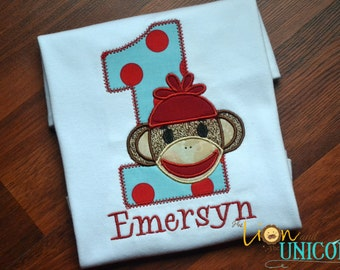 Sock Monkey First Birthday Shirt with Name (number can be changed)
