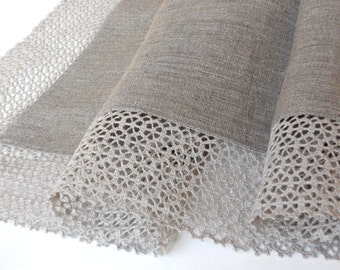 Natural gray linen tablecloth with wide linen lace pure linen table cloth