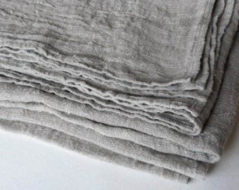 Reserved linen burlap tablecloth natural gray ecru washed rustic vintage look table cloth
