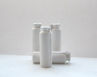 Small bud vase. English fine bone china micro bottle with mother of pearl