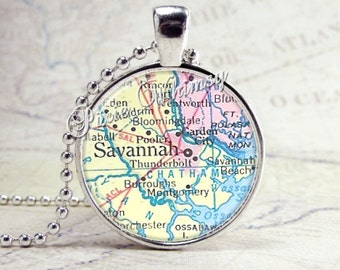 SAVANNAH GEORGIA Map Necklace, Glass Photo Art Pendant Necklace, Georgia State Jewelry, Georgia Necklace, Georgia Charm