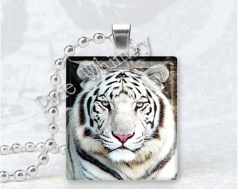 White Tiger Scrabble Tile Pendant Art Charm