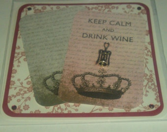 Keep Calm & Drink Wine Card, birthday card,thank you,notecard, blank inside for your own message.