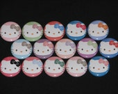 15 Soft Colors Kitty Flatback or Pinback buttons 1 inch