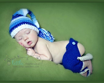 Cute Newborn Knitted Elf Hat Blue and White