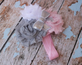 Pink, White & Grey Triple Shabby Flower Headband- Baby Headband- First Birthday- Birthday Headband- Newborn Headband- Pink- Photo Prop