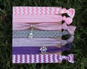 7 Pack Pink Purple Princess Crown Polka Dot Glitter Chevron Metallic Silver Charm Knot Hair Ties Stretch Fold Over Elastic PonyTail Holder