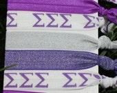 7 Pack Sigma Sigma Sigma Tri Sig Sorority hair ties purple silver White Chevron Rush Bid Gift Gifts