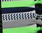 7 Pack navy neon green chevron glitter ruffle Hair Ties Stretch Fold Over Elastic Pony Tail Holder Bracelet S3