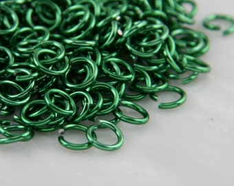 18 ga 3/16, 200 Green Anodized Aluminum Chain Mail Jump Rings