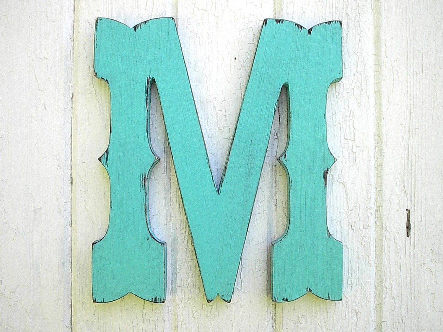 Rustic wooden letter m western cowboy style 12 inch wedding - Wood letter wall decor ...