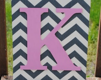 "Personalized Grey Chevron Pink Initial Canvas Wall Art 11""x14"" Customized Girls Wall Decor"