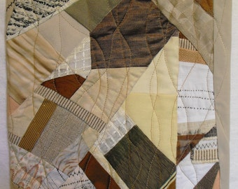 Fiber Art Wall Hanging Petite Neutrality,fabric collage of repurposed materials,beige and brown with texture and decorative stitches.