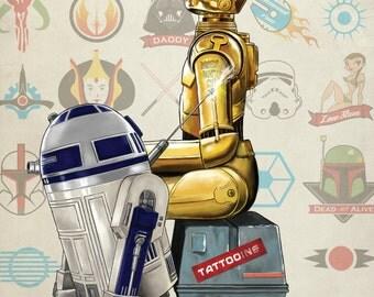 Droids Don't Cry - Star Wars Tattoo Print