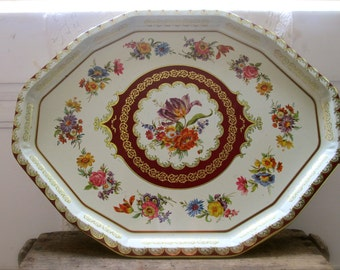 Vintage Tray Tin Tray  Daher Serving Decorative Floral Tray Cottage Shabby  HOME AND LIVING Vintage Decor  boho cottage