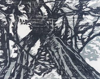 You Make Beautiful Things woodcut relief print