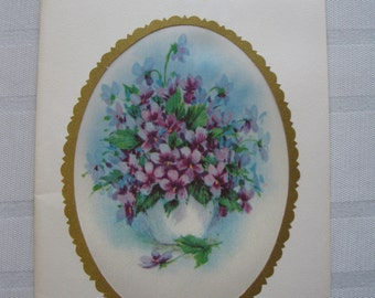 1965 Satin Insert Violets Mother's Day Card