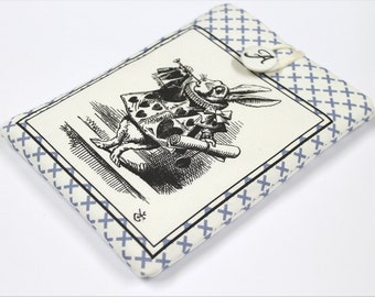 White Rabbit 7 in Tablet cover,  Alice's Adventures, Nexus 7 case, padded travel case, custom gadget sleeve, Paperwhite, Kindle Fire HD7