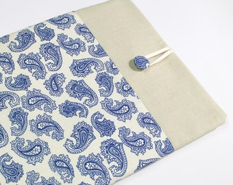IPad , cover, case, sleeve, padded, blue, paisley