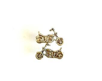 Motorcycle Stud Earrings antique silver biker earrings Handmade Gift