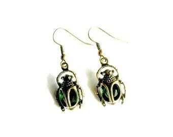 Scarab Earrings Steampunk beetle Emerald green Handmade Gift