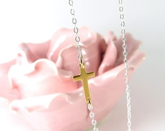 New Two Tone Side Cross Necklace, Gold Cross on Silver chain, Gold Cross Necklace, Offset Cross, Two Tone Necklace