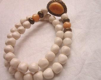 Vintage Trifari Chunky Clunky Bodacious Necklace & Cabochon Pendant