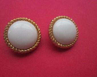 Vintage  White Cabochon & Gold Tone Braid Earrings