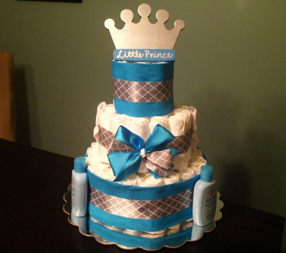 prince blue silver crown theme boy baby shower gift decoration