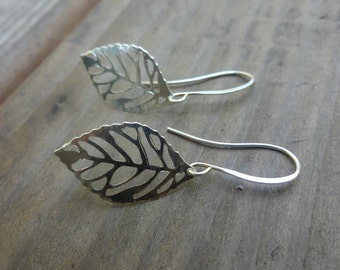 Original Rhodium Plated Leaf Charms Earrings, French Ear Wires, Modern, Simple, Everyday Wear