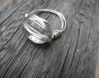 Simple Wirework Clear Beaded Wire Wrapped Ring