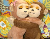 Love Monkeys. Vintage Plush Monkey Pair. Lovers. Gift for True Love.