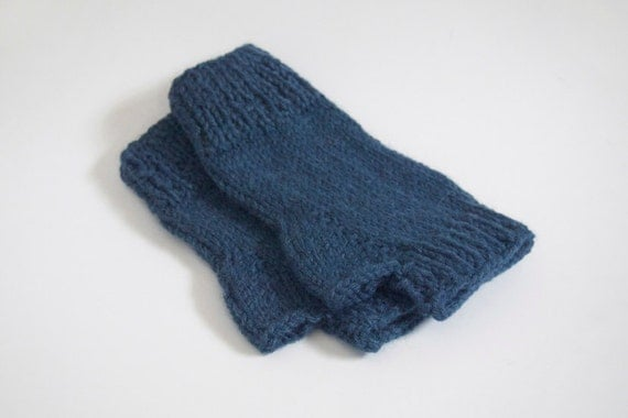 custom knit pulse warmers-- the condyle fingerless mittens in denim blue