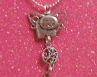 Elongated Kitty Angel Memorial Necklace
