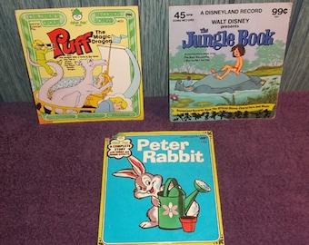 3 Vintage Child's Story & Songs Records, Peter Rabbit, Walt Disney's Jungle Book, Puff the Magic Dragon 45 RPM